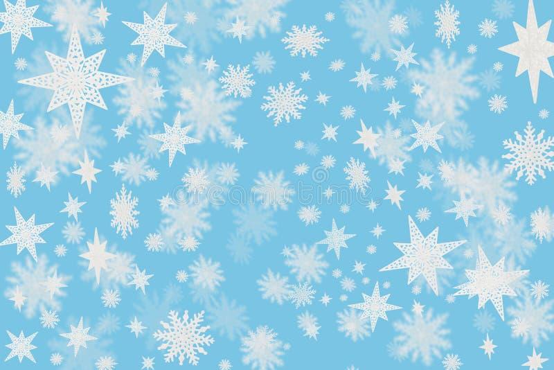 Предпосылка рождества холодная голубая с хлопьями снега и звезды с b бесплатная иллюстрация