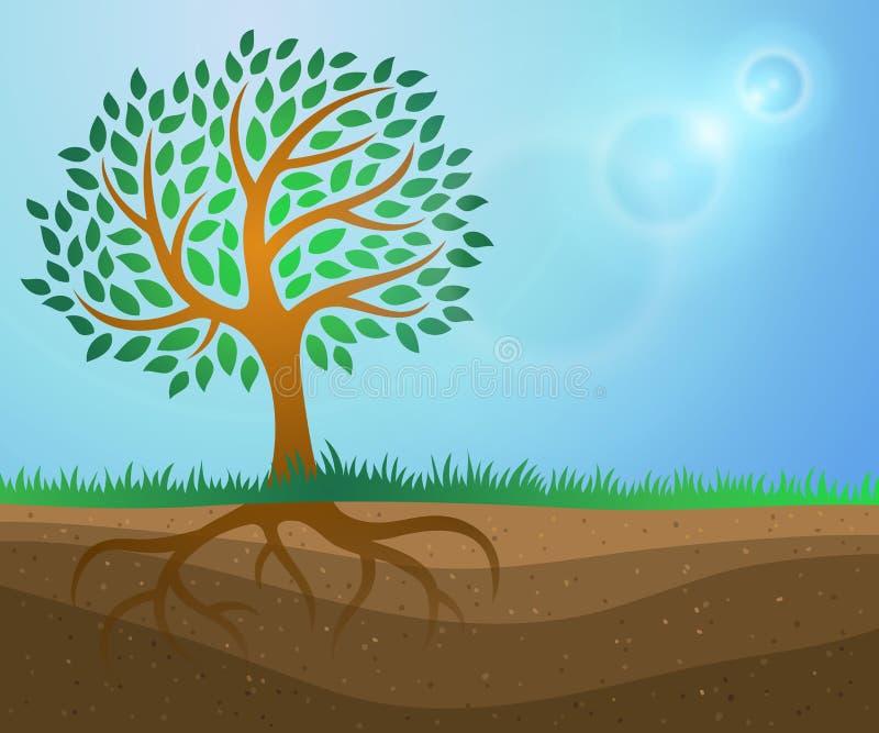 Предпосылка роста дерева иллюстрация вектора