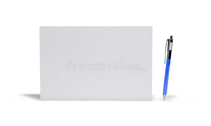 Предпосылка ручки шариковой авторучки и бумаги, 3d представляет иллюстрация вектора