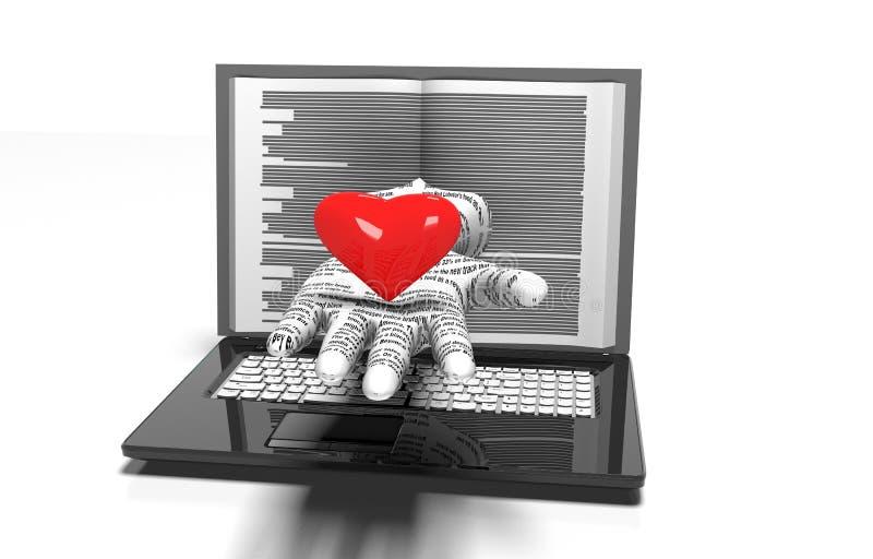Предпосылка сердец на современной изолированной компьтер-книжке иллюстрация вектора
