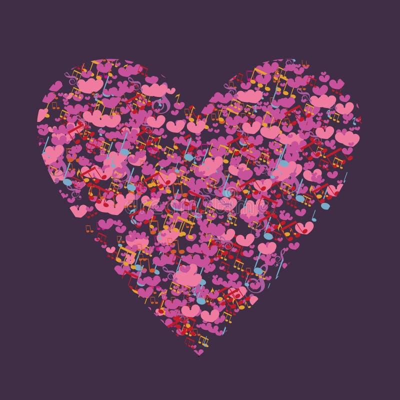 Предпосылка сердца музыкальных примечаний и маленьких сердец Поздравительные открытки валентинки шаблона иллюстрация штока