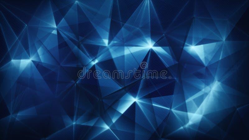 Предпосылка синей сети треугольников ультрамодная абстрактная иллюстрация штока