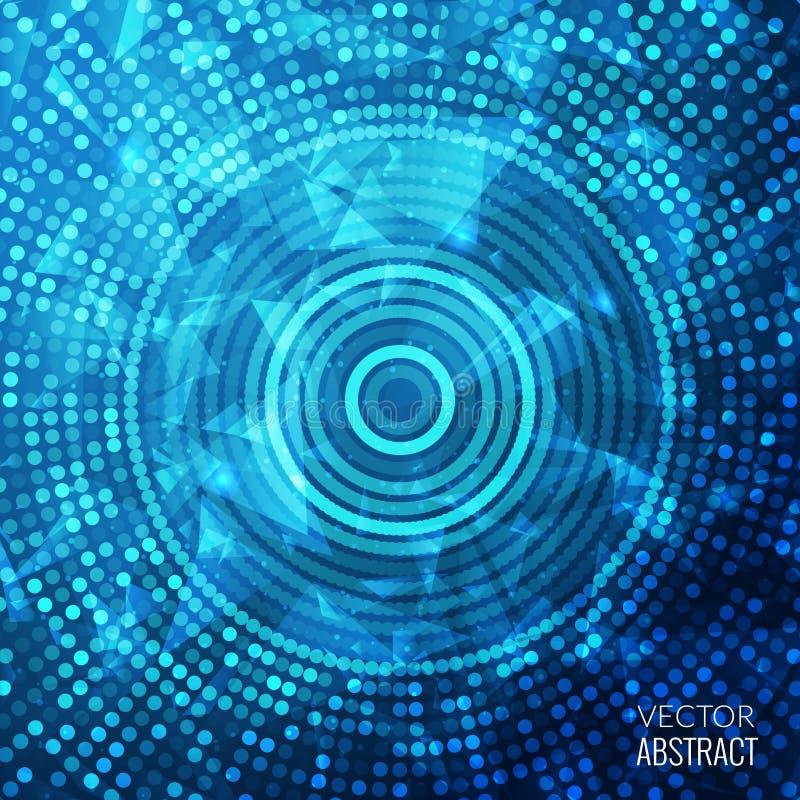 Предпосылка сияющей голубой круглой мозаики фантазии красочная иллюстрация вектора