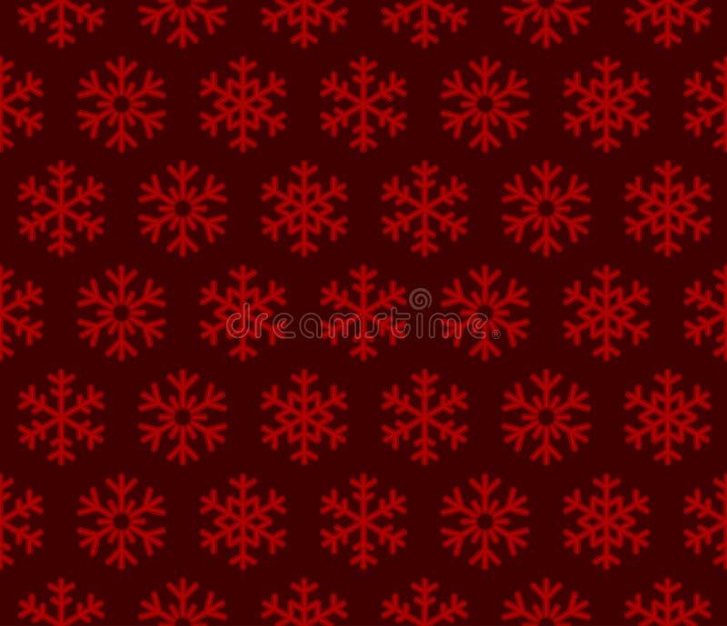 Предпосылка снежинок красная с безшовной картиной бесплатная иллюстрация