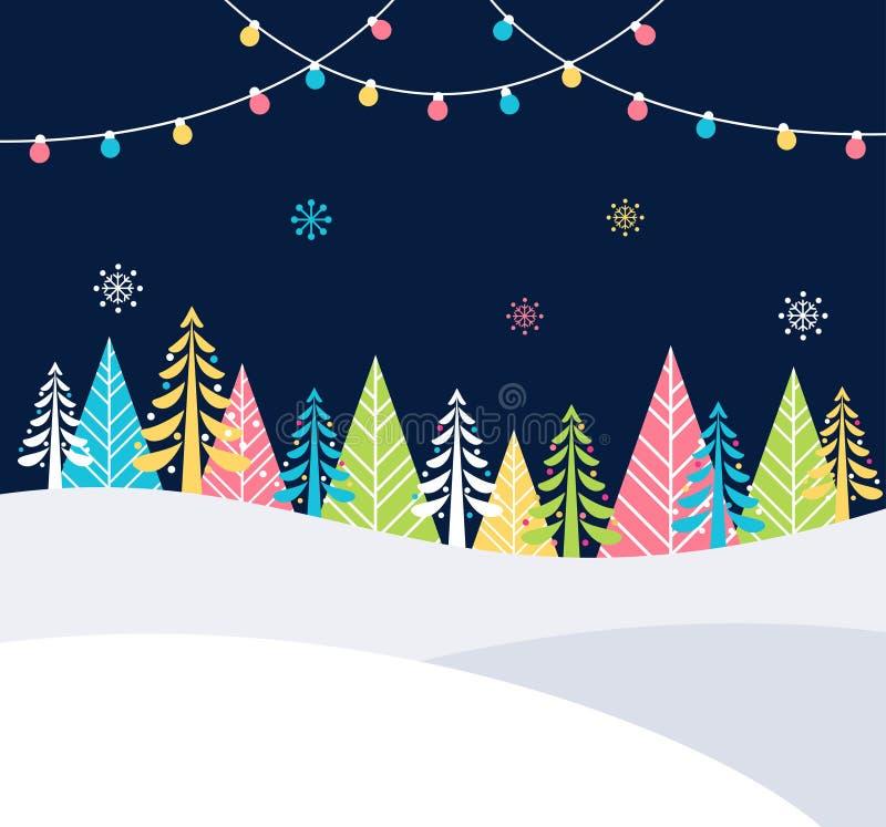Предпосылка событий рождества и зимних отдыхов праздничная с снегом, деревьями и светами рождества Шаблон плаката вектора иллюстрация вектора