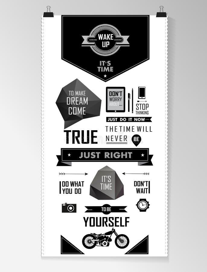 Предпосылка современной черной цитаты infographic, бесплатная иллюстрация