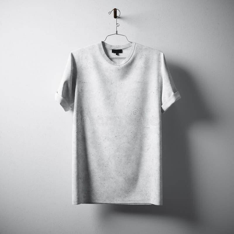 Предпосылка стены белого пустого центра смертной казни через повешение футболки хлопка серая конкретная пустая Сильно детальные м стоковые изображения rf