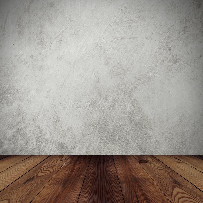 Предпосылка стены цемента и пол древесины стоковые фотографии rf