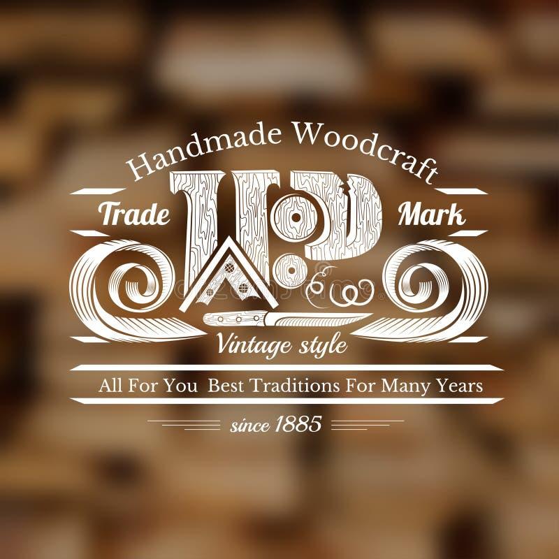 Предпосылка стиля ремесла плотника с ножом для высекать деревянные shavings и место слова для текста бесплатная иллюстрация