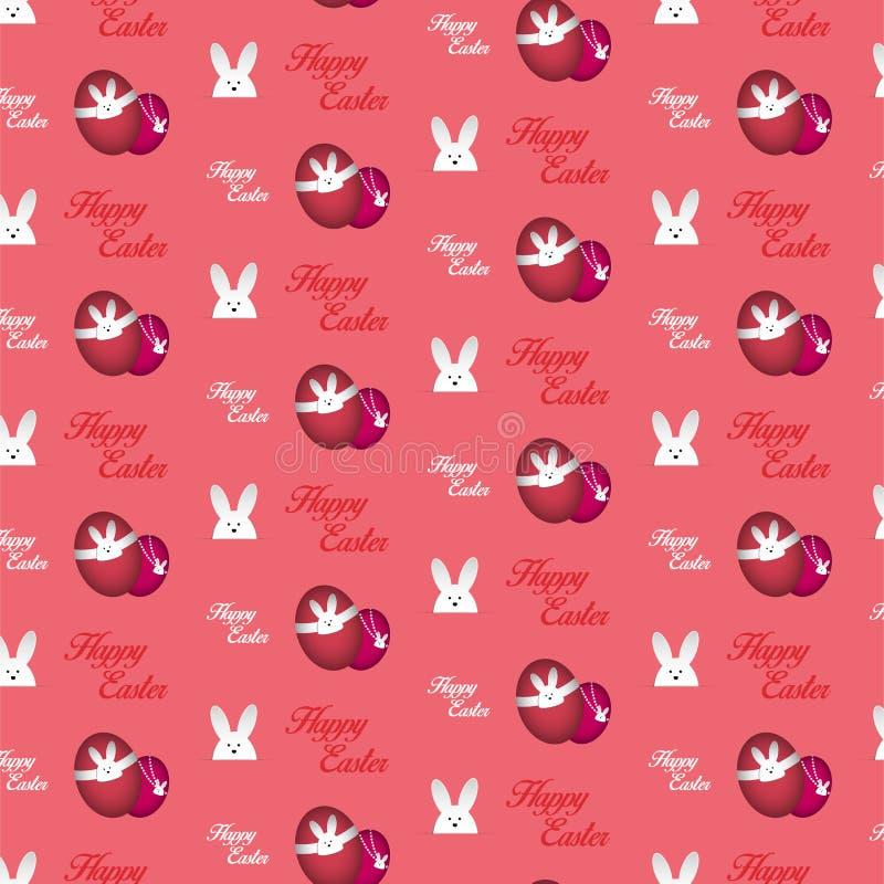Предпосылка счастливого пинка зайчика кролика пасхи безшовная иллюстрация штока