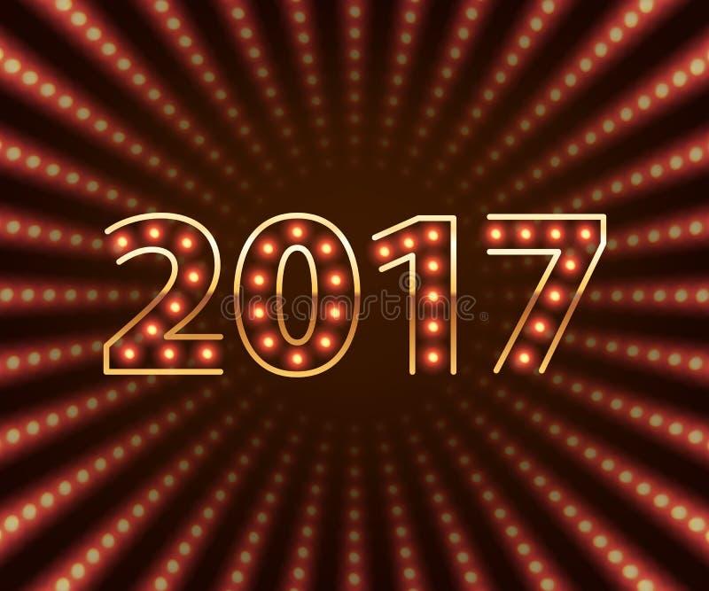 Предпосылка 2017 счастливой электрической лампочки Нового Года ретро неоновая иллюстрация вектора