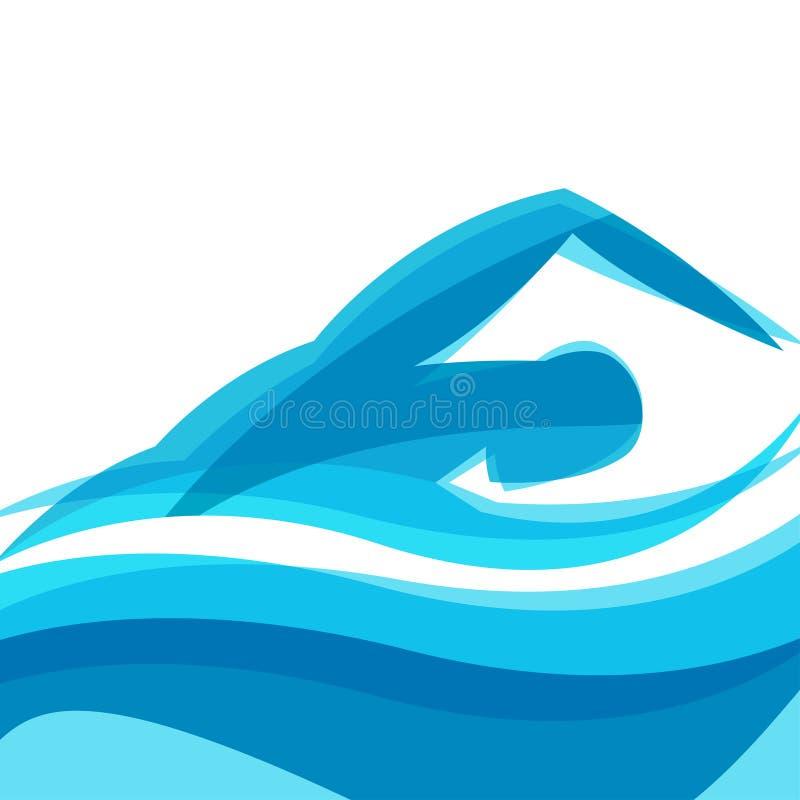 Предпосылка с абстрактным стилизованным человеком заплывания иллюстрация штока