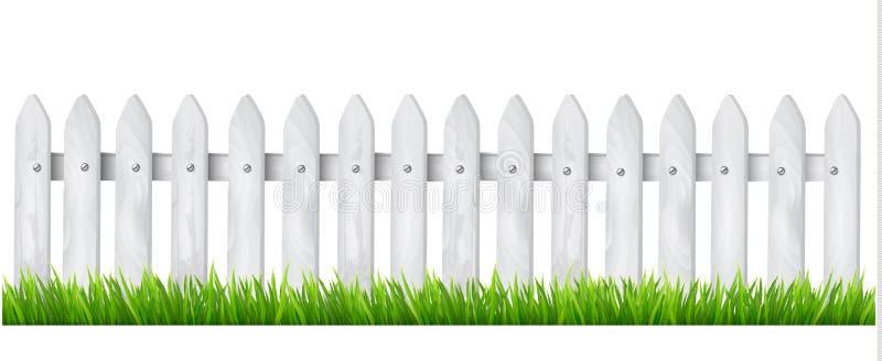 Предпосылка с белой деревянной загородкой с травой. иллюстрация штока