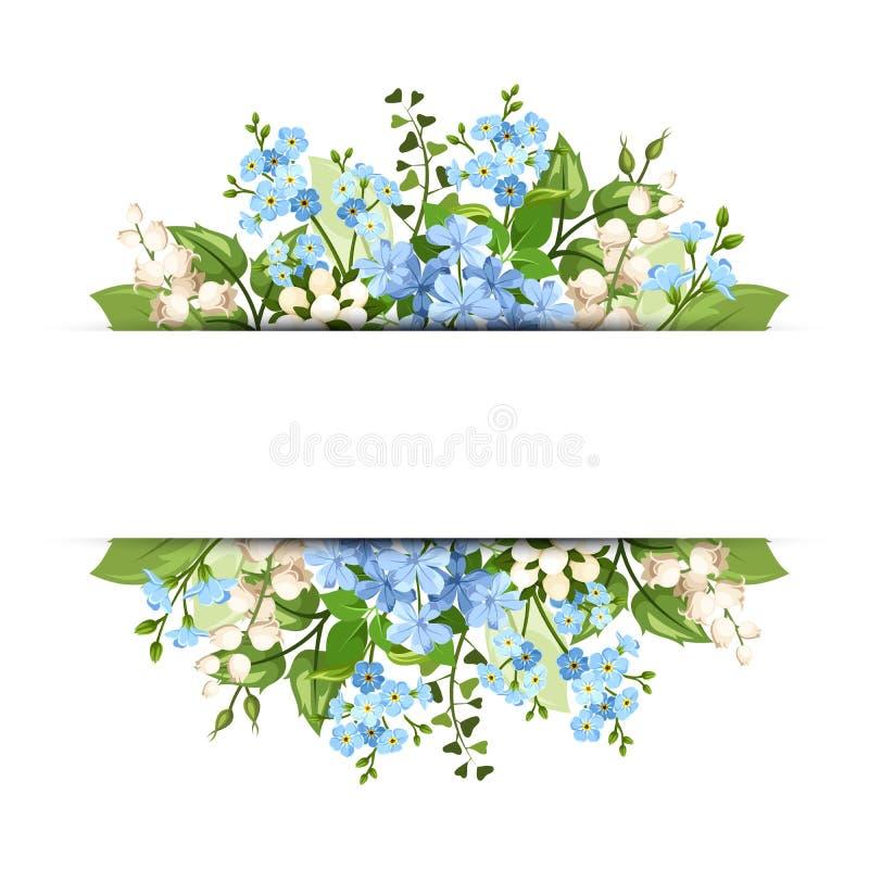 Предпосылка с голубыми и белыми цветками Вектор EPS-10 иллюстрация штока