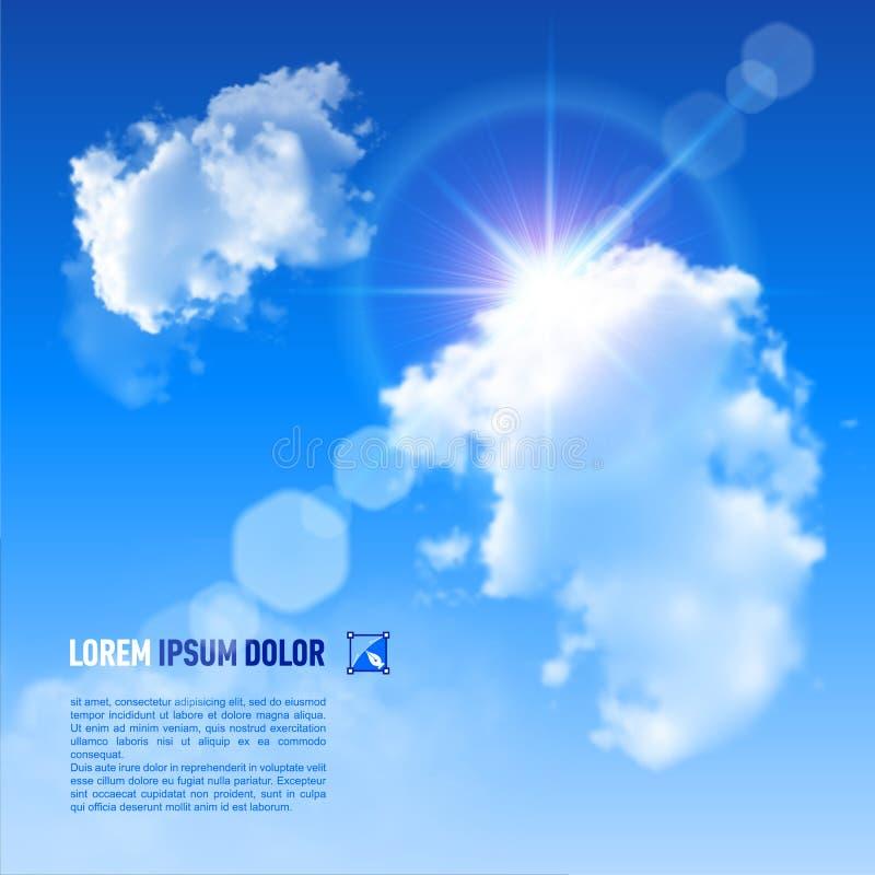 Предпосылка с голубым небом и облаками иллюстрация штока