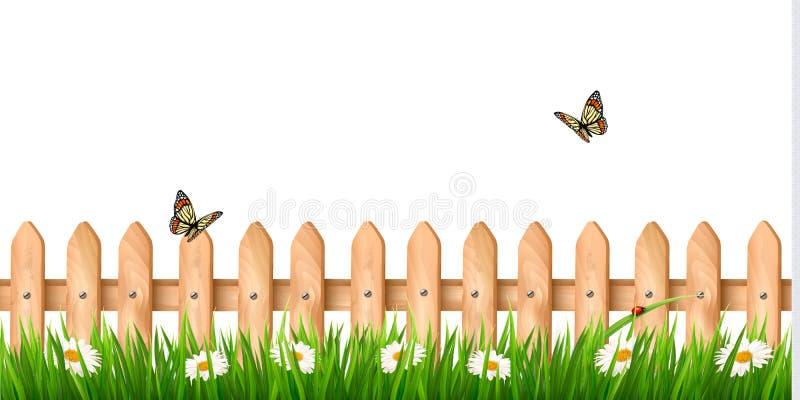 Предпосылка с деревянной загородкой с травой, цветками иллюстрация штока