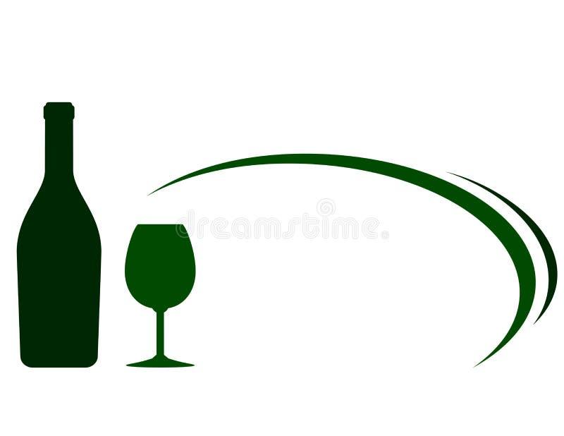 Предпосылка с зелеными бутылкой и стеклом вина иллюстрация вектора