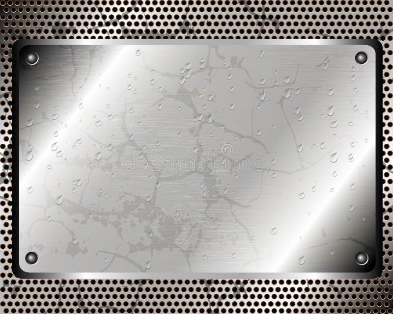 Предпосылка с металлической пластиной и капельками воды бесплатная иллюстрация