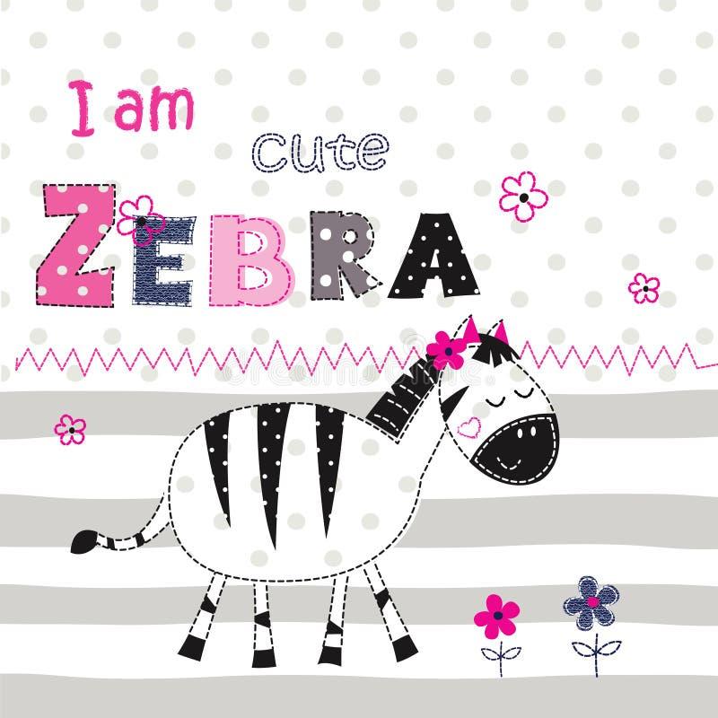Предпосылка с милой зеброй с флористическими элементами и fo помечать буквами иллюстрация штока