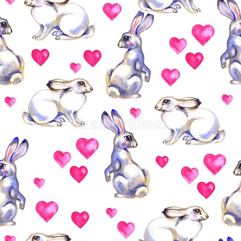 Предпосылка с милыми кроликами влюбленности Картина акварели безшовная иллюстрация вектора