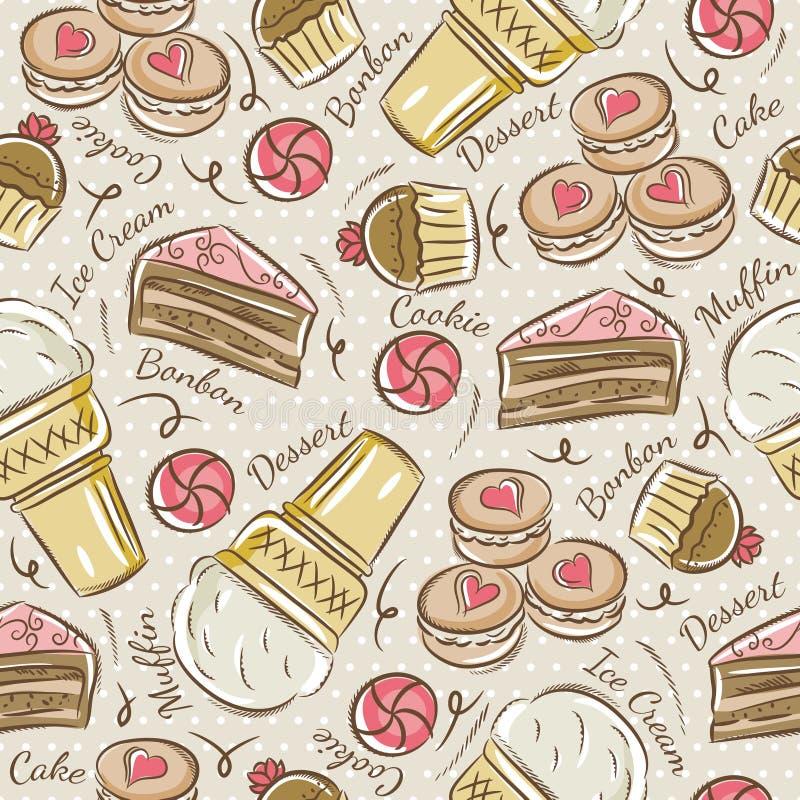 Предпосылка с пирожным, мороженым, тортом и печеньем иллюстрация штока