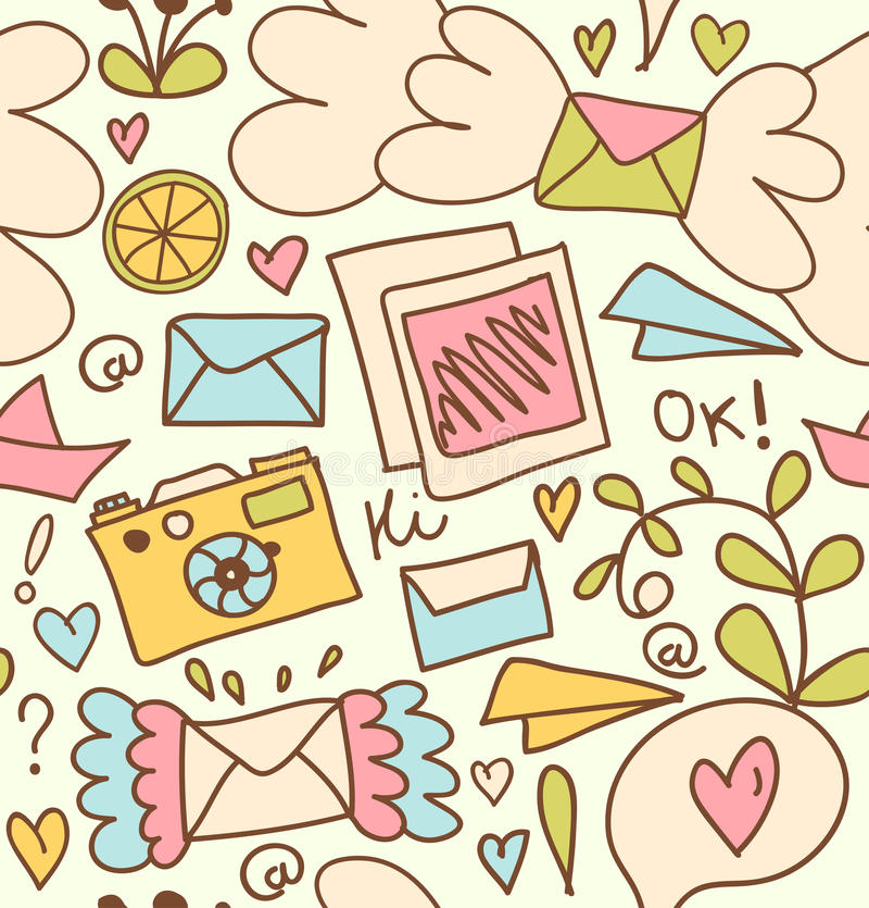 Предпосылка с письмами, камера столба безшовной картины почты милая, приносить бесплатная иллюстрация