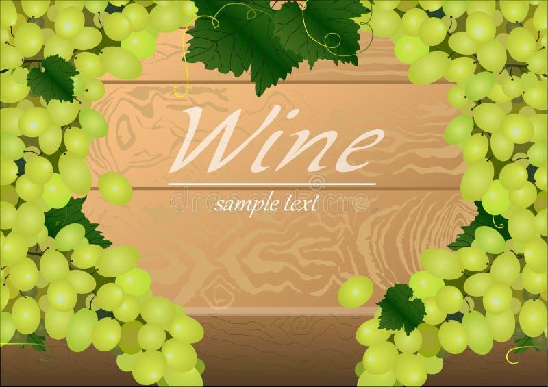 Предпосылка с пуками зеленых виноградин на деревянном столе иллюстрация вектора