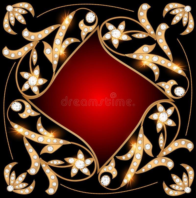 Предпосылка с драгоценными камнями, картиной золота и звездами бесплатная иллюстрация