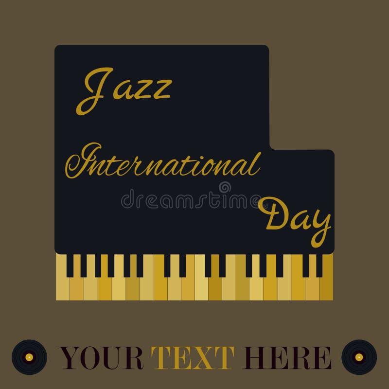 Предпосылка с роялем и золотые ключи на день International джаза иллюстрация штока