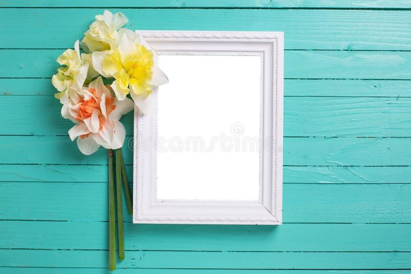 Предпосылка с свежими daffodils и доской стоковые изображения