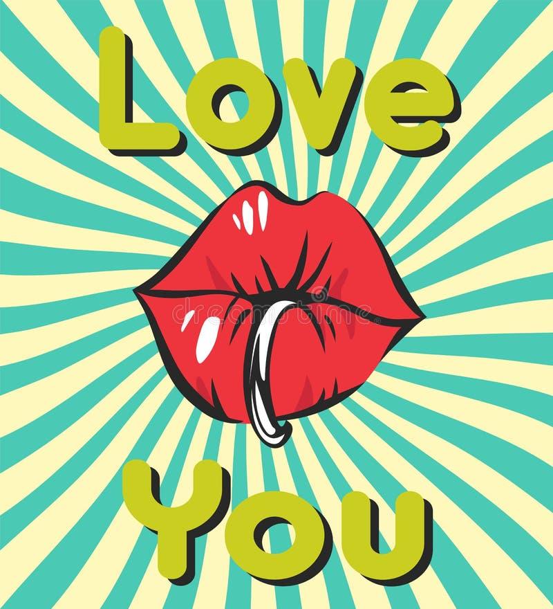 Предпосылка с сексуальными piercing губами, жевательная резинка дня валентинок винтажная, ретро лучи и любит вас литерность бесплатная иллюстрация