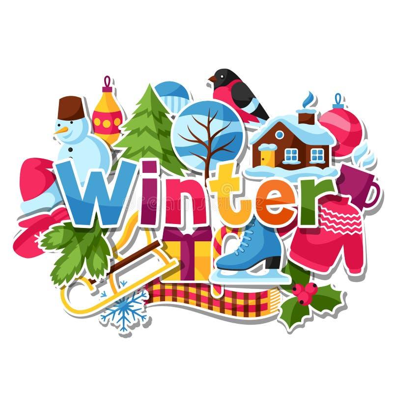 Предпосылка с стикерами зимы С Рождеством Христовым, счастливые детали праздника Нового Года и символы иллюстрация вектора