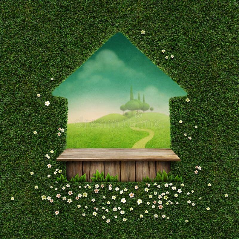Предпосылка с таблицей и зеленым ландшафтом иллюстрация штока