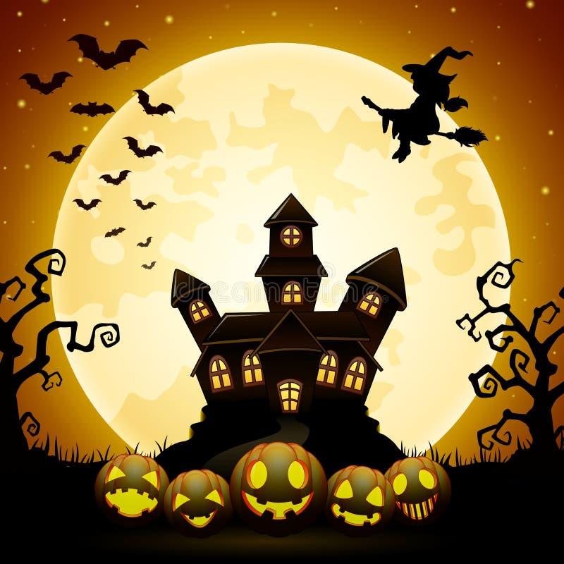 Предпосылка с тыквами, летание ночи хеллоуина ведьмы, преследовала замок и полнолуние иллюстрация штока