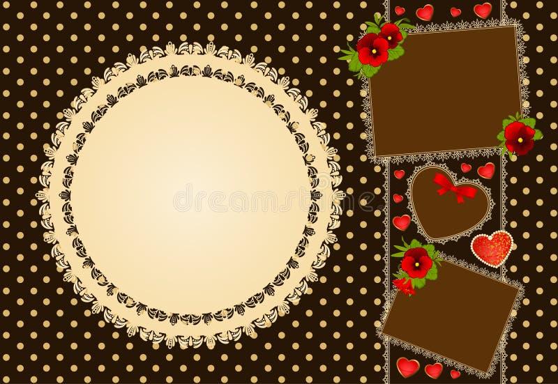 Предпосылка с цветками и орнаментом шнурка стоковое фото rf
