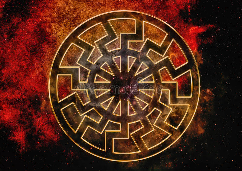 Предпосылка с черным символом Солнця иллюстрация штока