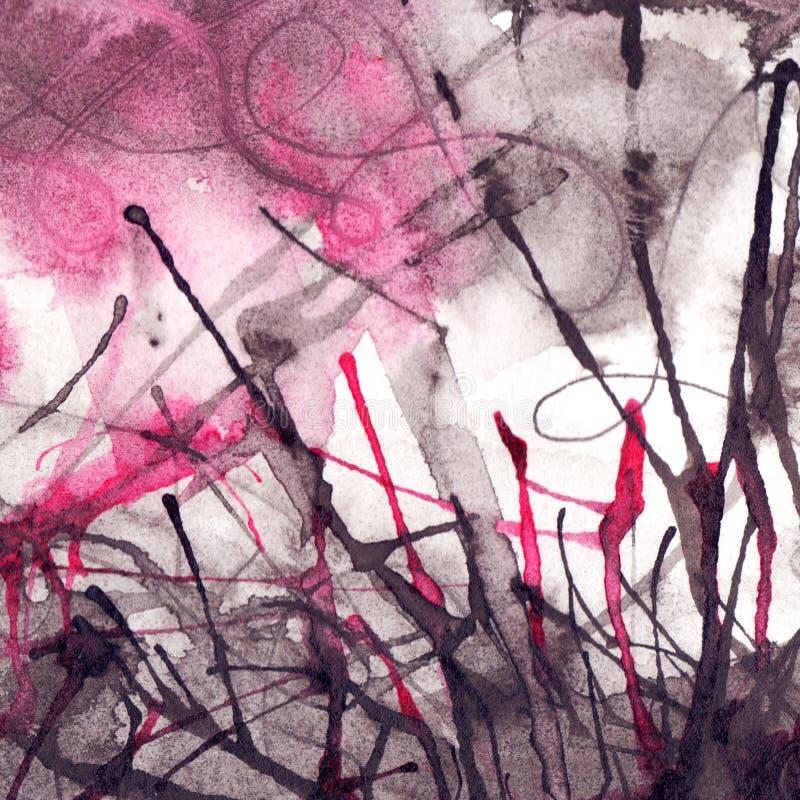 Предпосылка текстуры акварели черная белая розовая абстрактная бесплатная иллюстрация