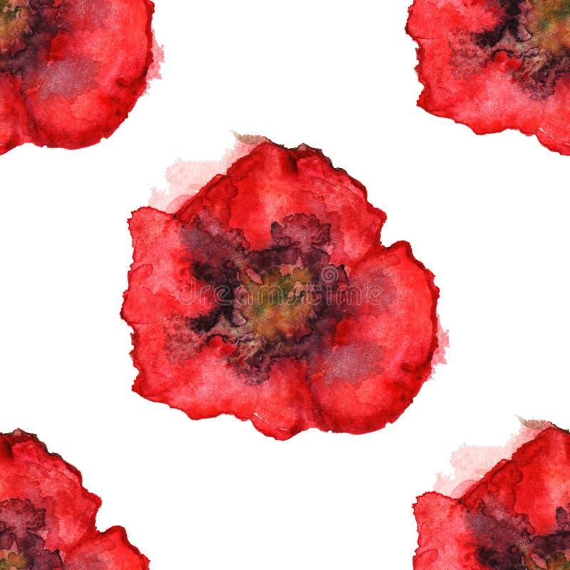 Предпосылка текстуры картины красного мака акварели безшовная бесплатная иллюстрация