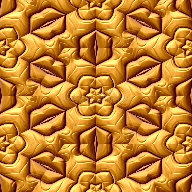Предпосылка текстуры картины флористического орнамента золота безшовная иллюстрация вектора