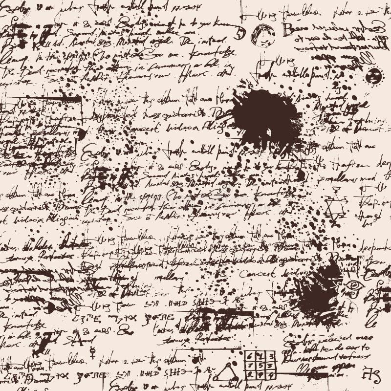 Предпосылка текстуры текста почерка иллюстрация вектора