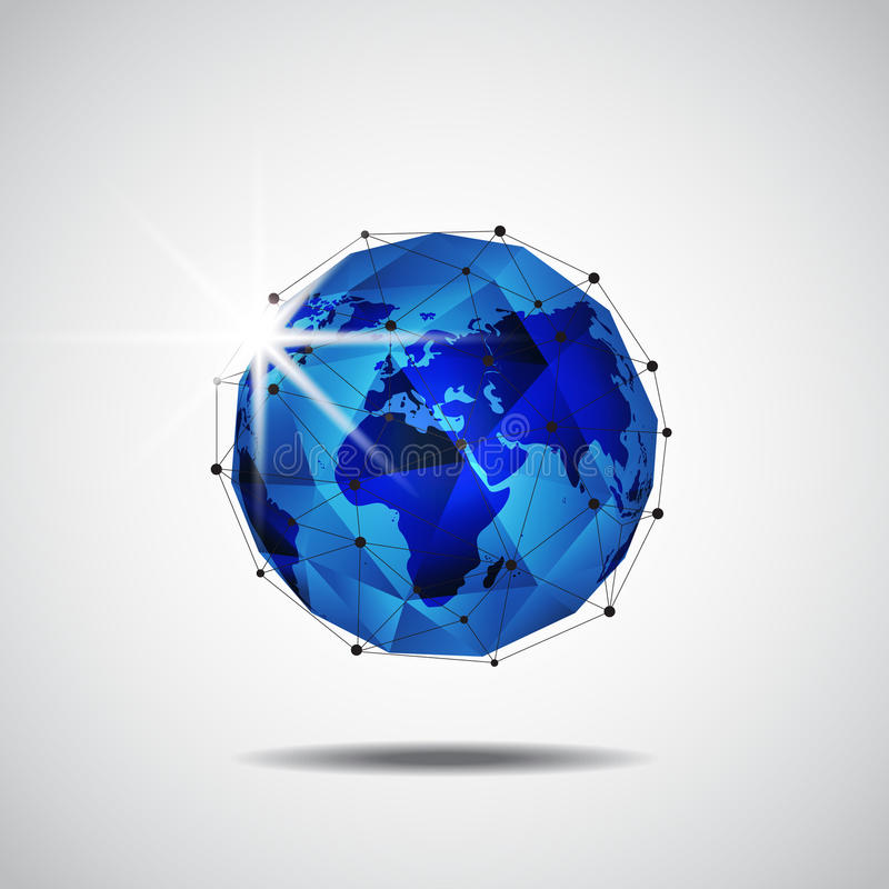 Предпосылка технологии сети глобального бизнеса, вектор иллюстрация штока