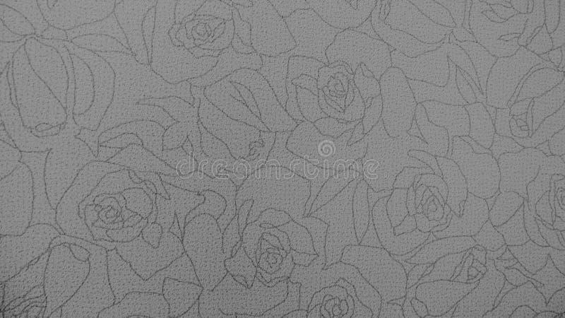 Предпосылка ткани ретро картины шнурка флористической безшовной Monotone черно-белая стоковое фото rf