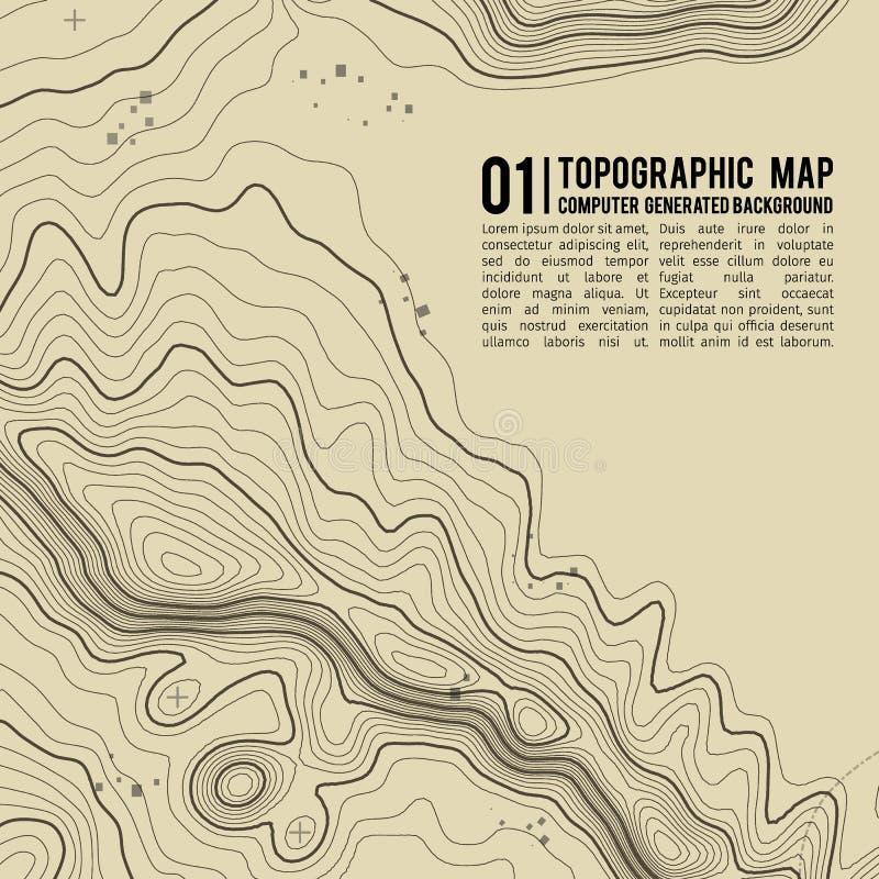 Предпосылка топографической карты с космосом для экземпляра Выровняйте предпосылку контура карты топографии, географический консп иллюстрация вектора