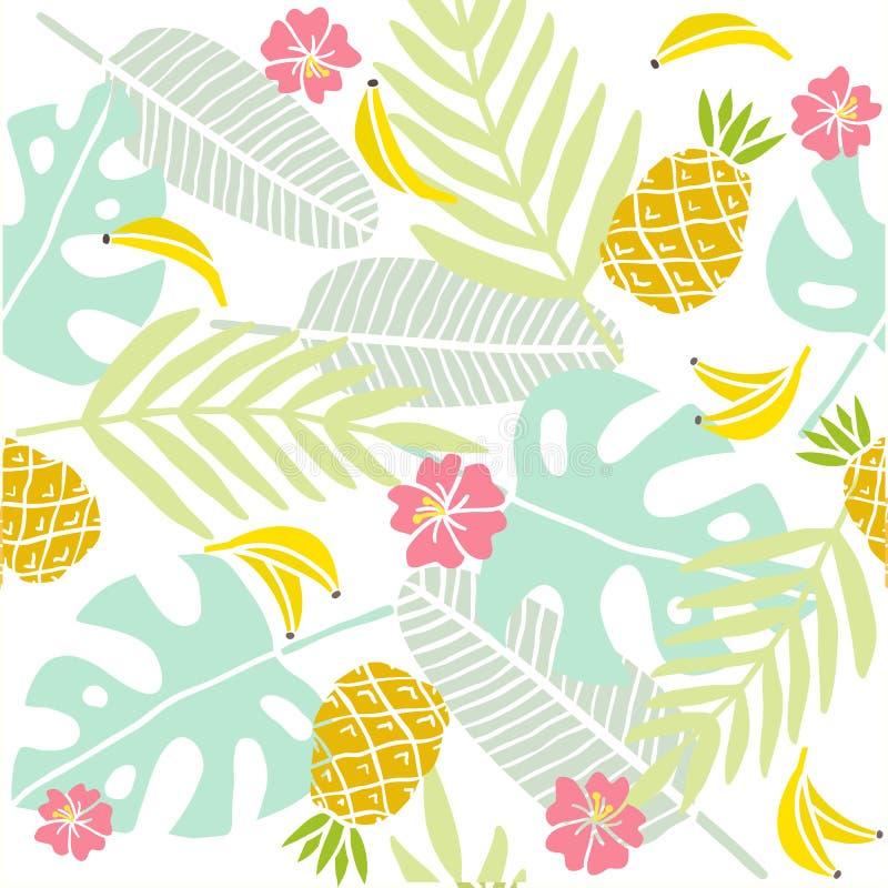 предпосылка тропическая Листья ладони, экзотические плодоовощи иллюстрация вектора