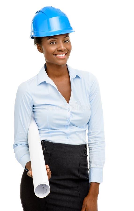 Предпосылка уверенно Афро-американского архитектора женщины усмехаясь белая стоковые фото
