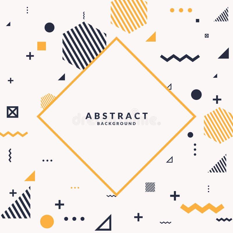 Предпосылка ультрамодного абстрактного искусства геометрическая с плоским, minimalistic стилем Мемфиса Плакат вектора с элементам стоковое изображение