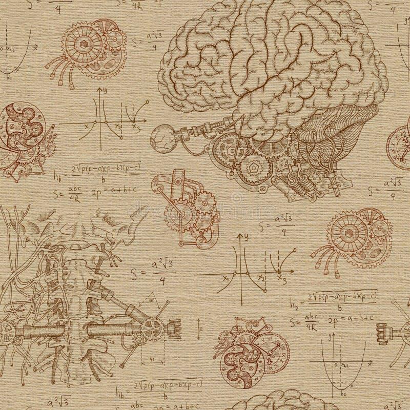 Предпосылка фантазии безшовная с мозгом, горлом и механизмами иллюстрация вектора