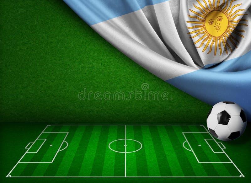 Предпосылка футбола или футбола с флагом Аргентины иллюстрация вектора