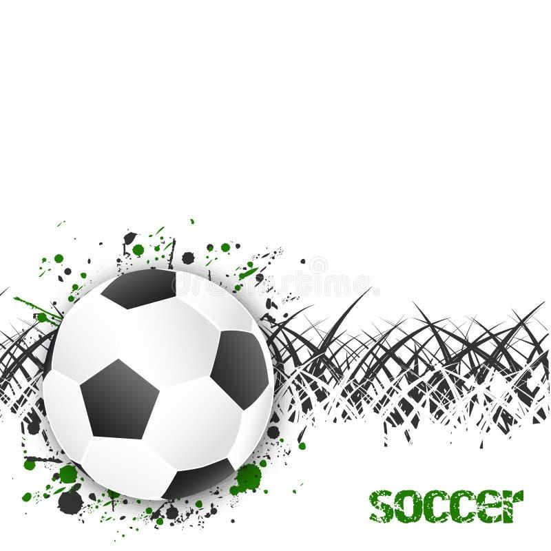 Предпосылка футбола (футбола) с шариком и травой иллюстрация штока
