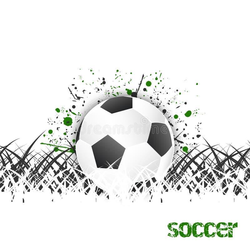 Предпосылка футбола (футбола) с шариком и травой иллюстрация вектора